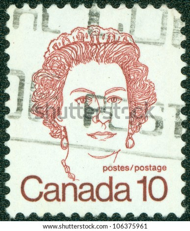 CANADA - CIRCA 1972: A stamp printed in Canada shows a portrait of Queen Elizabeth II, circa 1972. - stock photo