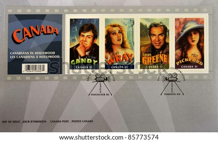 CANADA - CIRCA 2006:  A stamp printed in Canada shows Canadian actors who have succeeded in Hollywood, John Candy, Fay Wray, Lorne Greene, Mary Pickford, first day of issue, circa 2006