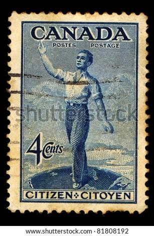 CANADA - CIRCA 1947: A stamp printed in Canada shows Citizen, Citoyen, circa 1947 - stock photo