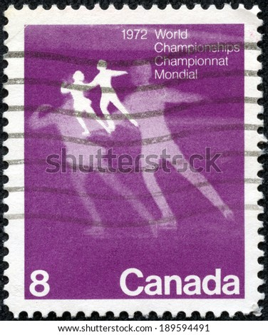 "CANADA - CIRCA 1972: A stamp printed in Canada shows Figure Skating, with inscriptions and name of series ""World Figure Skating Championships, 1972"", circa 1972 - stock photo"