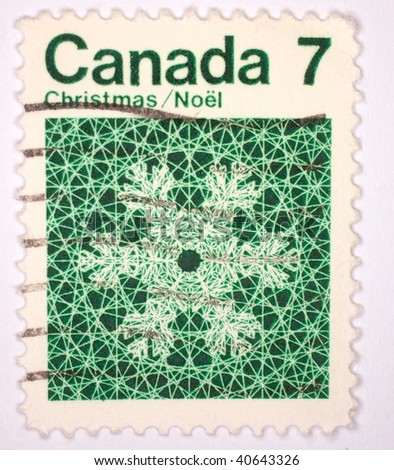 CANADA - CIRCA 1961: A stamp printed in Canada shows image of a snowflake, series, circa 1961
