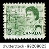 CANADA-CIRCA 1967:A stamp printed in CANADA shows image of Elizabeth II (Elizabeth Alexandra Mary, born 21 April 1926) is the constitutional monarch of United Kingdom, circa 1967. - stock photo