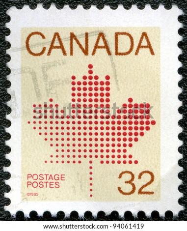 CANADA - CIRCA 1982: A stamp printed in Canada shows Maple Leaf, a symbol of Canada, circa 1982 - stock photo