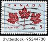 CANADA - CIRCA 1964: A stamp printed in Canada shows Maple Leaf, circa 1964 - stock photo