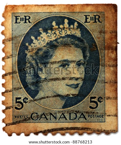 CANADA - CIRCA 1954: A stamp printed in Canada shows Queen Elizabeth II, circa 1954 - stock photo