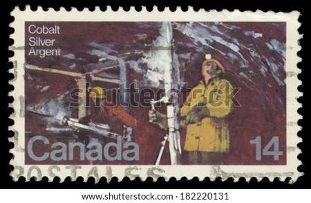 CANADA - CIRCA 1978: A stamp printed in Canada, shows Silver Mine Cobalt Lake, circa 1978 - stock photo