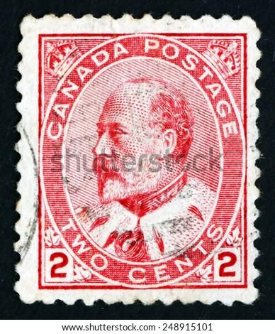 CANADA - CIRCA 1903: a stamp printed in the Canada shows King Edward VII, Portrait, circa 1903 - stock photo