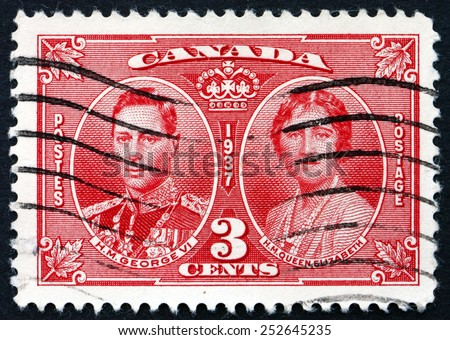 CANADA - CIRCA 1937: a stamp printed in the Canada shows King George VI and Queen Elizabeth, Coronation of King George VI and Queen Elizabeth, circa 1937 - stock photo