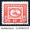 CANADA - CIRCA 1951: a stamp printed in the Canada shows Stamp of Three penny Beaver, Centenary of British North American Postal Administration, circa 1951 - stock photo