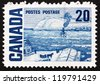 CANADA - CIRCA 1967: a stamp printed in the Canada shows The Ferry, Quebec, Painting by James Wilson Morrice, circa 1967 - stock photo