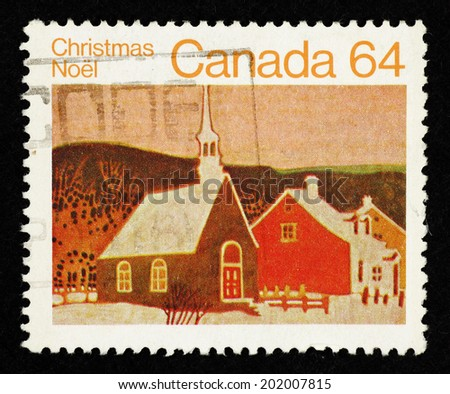CANADA - CIRCA 1983: Brown color postage stamp printed in Canada with an artistic impression of a rural Christian church in a winter landscape to commemorate Christmas Noel.