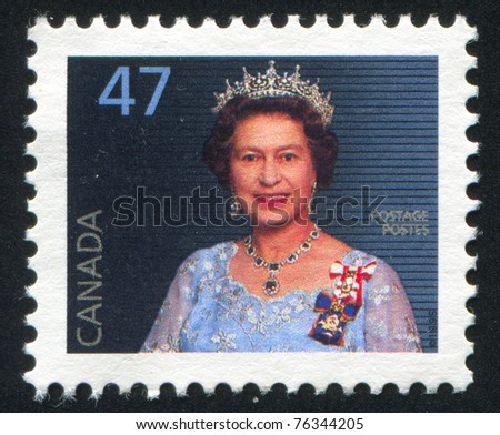 CANADA - CIRCA 1995: Elizabeth II is the queen regnant of sixteen independent sovereign states, circa 1995. - stock photo