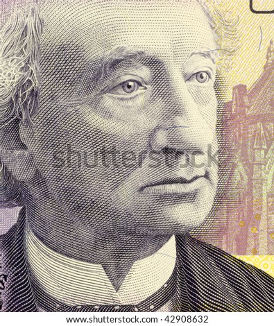 CANADA - CIRCA 2005: John Macdonald on 10 Dollars 2005 Banknote from Canada. First Canadian prime minister. - stock photo