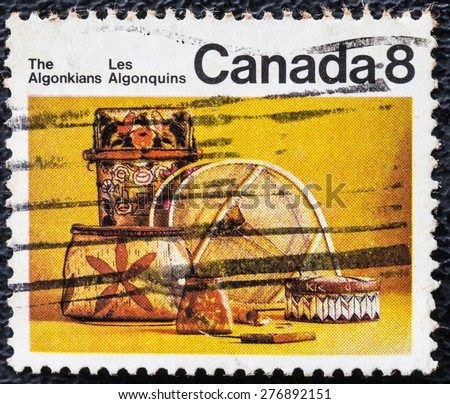 CANADA - CIRCA 1973: Postage stamp printed in Canada, shows artifacts of the indigenous people of North America - Algonquian, circa 1973 - stock photo