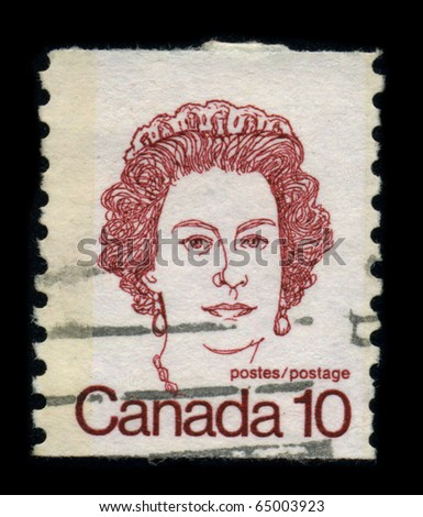 CANADA - CIRCA 1980: Postage Stamp showing Portrait of Queen Elizabeth, circa 1980.