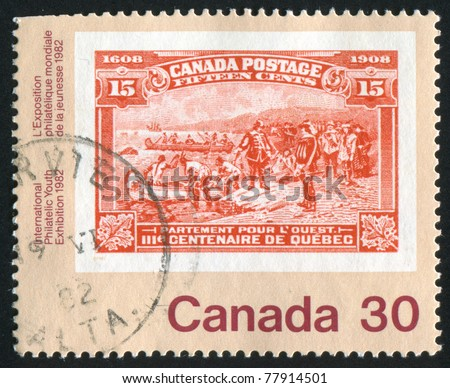 CANADA - CIRCA 1982: stamp printed by Canada, shows Ancient Canadian stamps, circa 1982