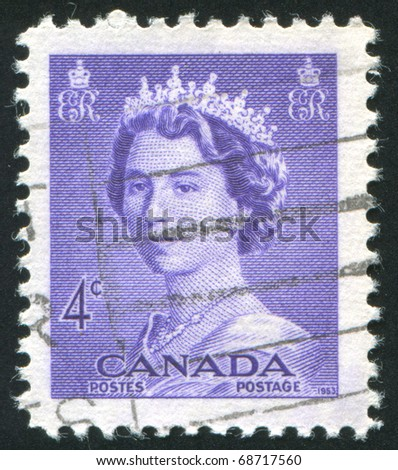 CANADA - CIRCA 1953: stamp printed by Canada, shows Elizabeth II, circa 1953