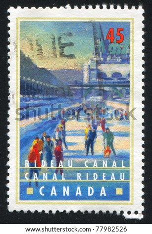 CANADA - CIRCA 1998: stamp printed by Canada, shows Ice skating on Rideau Canal, Ottawa, circa 1998
