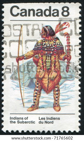 CANADA - CIRCA 1975: stamp printed by Canada, shows Indian, circa 1975 - stock photo