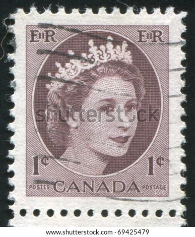 CANADA - CIRCA 1954: stamp printed by Canada, shows Queen Elizabeth II, circa 1954 - stock photo