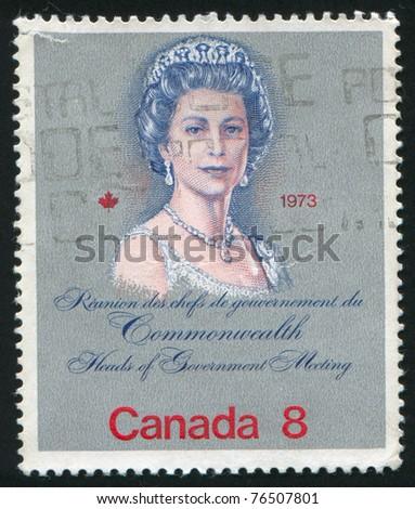 CANADA - CIRCA 1973: stamp printed by Canada, shows Queen Elizabeth II, circa 1973 - stock photo