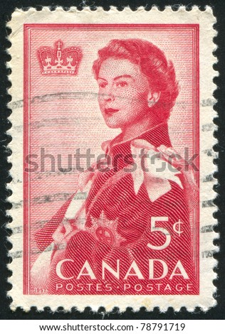 CANADA - CIRCA 1957: stamp printed by Canada, shows queen Elizabeth II, circa 1957 - stock photo