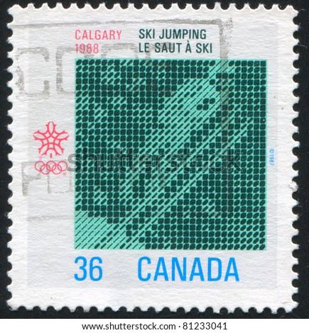 CANADA - CIRCA 1988: stamp printed by Canada, shows Southwestern Alberta, Computer Design Ski Jumping, circa 1988 - stock photo