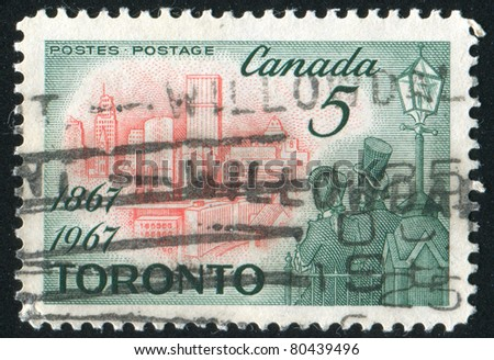 CANADA - CIRCA 1967: stamp printed by Canada, shows Toronto in 1967 and Citizens of 1867, circa 1967