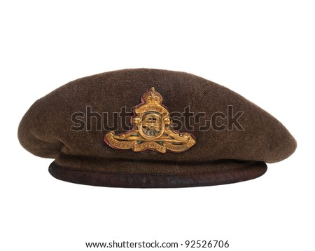 CANADA - CIRCA 1939: World War II soldier beret made in Canada showing a ground troops beret over white background, circa 1939 - stock photo