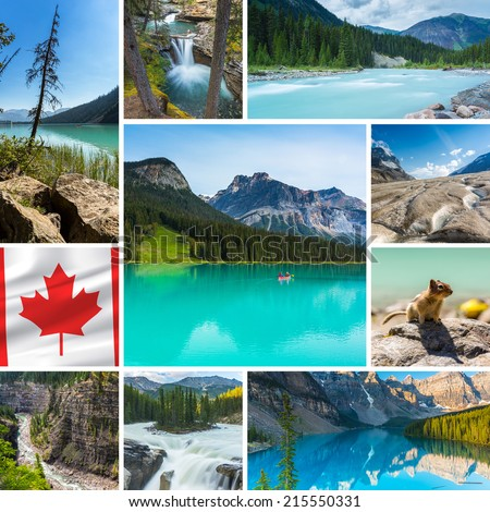 Canada collage Lake Louise waterfall moraine lake banff jasper national parks - stock photo
