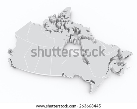 Canada 3d map with provinces - stock photo