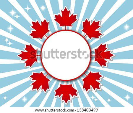 Canada Day banner with a maple leaves and shadow. Raster version. - stock photo