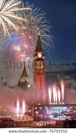 Canada Day fireworks - stock photo