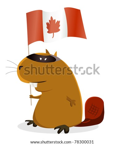 Canada Day/ Illustration of a cartoon beaver for Canada Day celebration event - stock photo