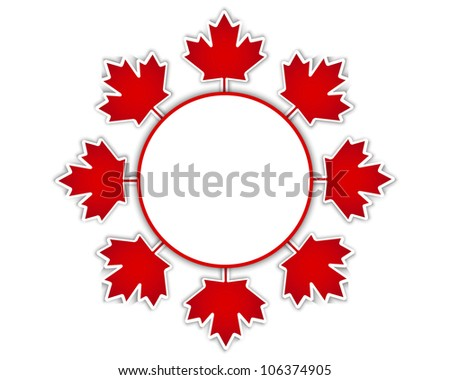 Canada Day stickers with a maple leaves and shadow. Raster version.
