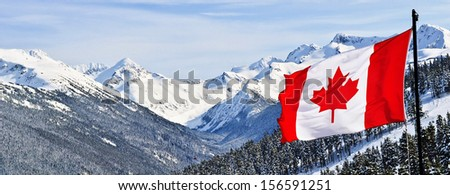 Canada flag and beautiful Canadian landscapes  - stock photo