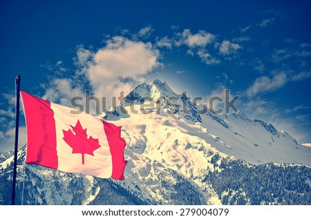 Canada flag and beautiful landscapes - stock photo