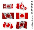 Canada flag and map in different styles in different textures - stock photo