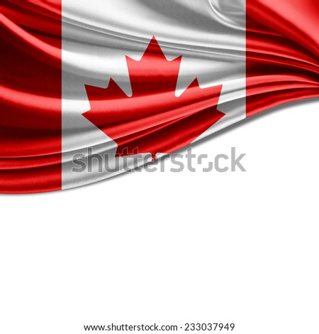 Canada flag and white background - stock photo