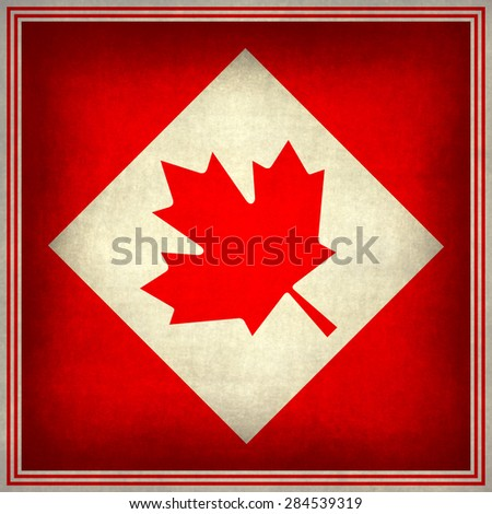 Canada flag, augmented version (to fit square format) with grunge textures - stock photo