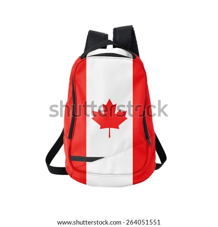 Canada flag backpack isolated on white background. Back to school concept. Education and study abroad. Travel and tourism in Canada - stock photo
