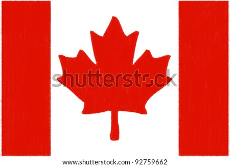 Canada flag drawing by pastel on charcoal paper - stock photo