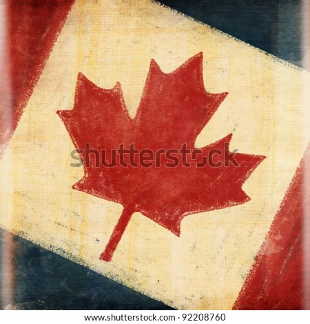 Canada flag drawing ,grunge and retro flag series - stock photo