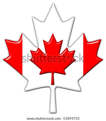 Canada flag in maple leaf - stock photo