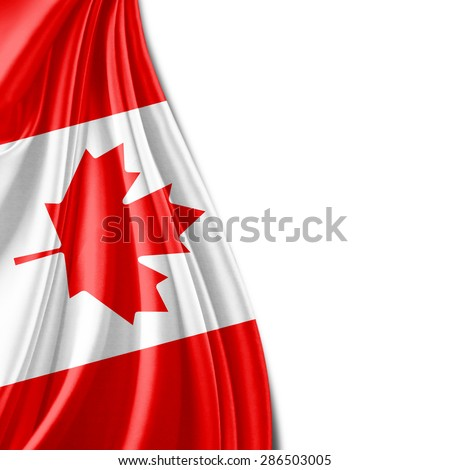 Canada flag of silk and white background - stock photo