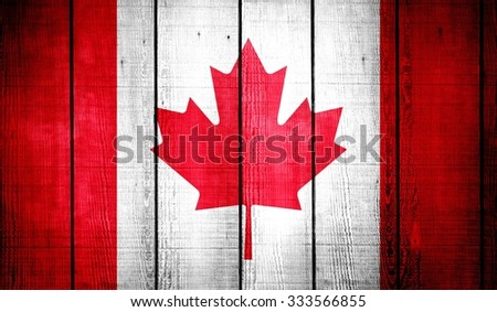 Canada Flag on old wood texture background