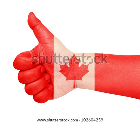 Canada flag on thumb up gesture like icon - stock photo