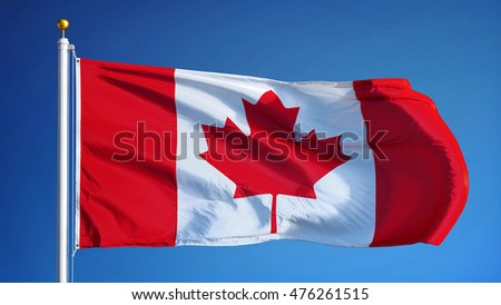 Canada flag waving against clean blue sky, close up, isolated with clipping mask alpha channel transparency, perfect for film, news, digital composition