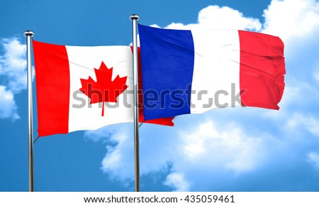 Canada flag with France flag, 3D rendering