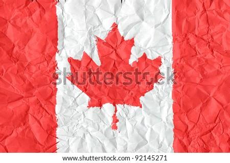 canada grunge flag on wrinkled paper background - stock photo